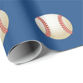 Papel De Presente Azuis marinhos do tema do basebol do esporte