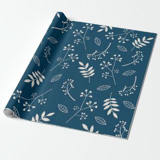 Papel De Presente Azuis marinhos florais botânicos das hortaliças