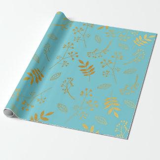 Papel De Presente Azul-céu florais botânicos da folha de ouro do