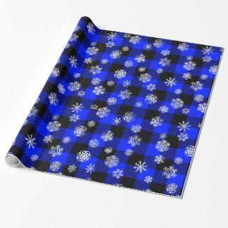 Papel De Presente Azul da xadrez do búfalo do floco de neve
