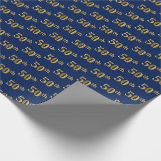 Papel De Presente Azul, evento do ouro 50th do falso (Fiftieth)