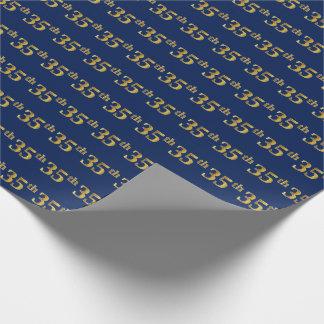Papel De Presente Azul, evento do ouro do falso 35o (trigésimo