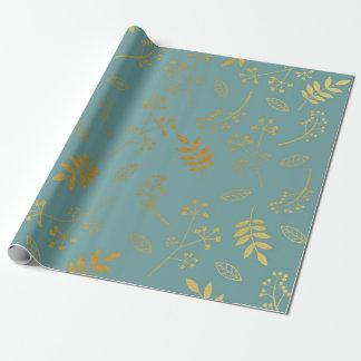 Papel De Presente Azul floral botânico da ardósia da folha de ouro