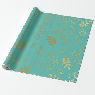 Papel De Presente Azul floral botânico da cerceta da folha de ouro