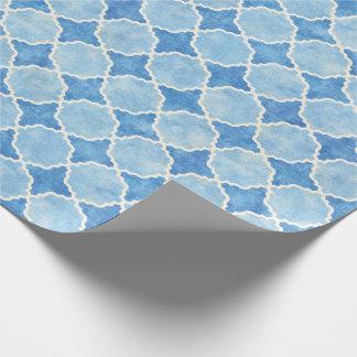 Papel De Presente Azul geométrico do inverno de Flutterby