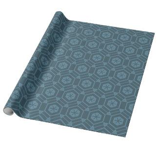 Papel De Presente Azul no hexágono azul