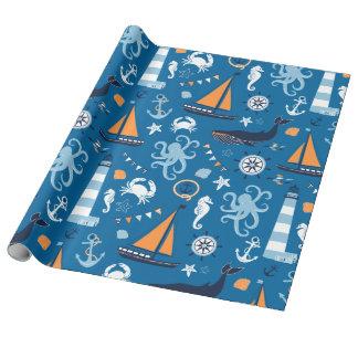 Papel De Presente Azul profundo todas as coisas náuticas