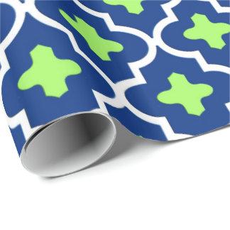 Papel De Presente Azulejo, azuis cobaltos e limão marroquinos