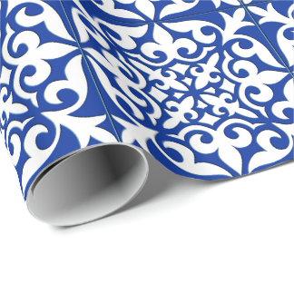 Papel De Presente Azulejo marroquino - azuis cobaltos e branco