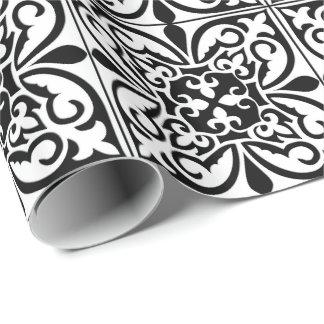 Papel De Presente Azulejo marroquino - branco com fundo preto