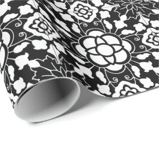Papel De Presente Azulejo marroquino floral, preto e branco