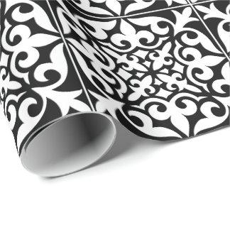 Papel De Presente Azulejo marroquino - preto com fundo branco