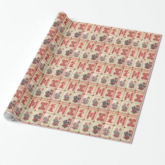 Papel De Presente Azulejos de Mahjong
