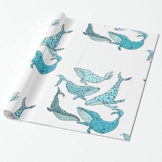 Papel De Presente Baleias azuis