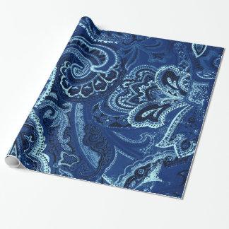 Papel De Presente Bandanna retro/Bandana de Paisley dos azuis