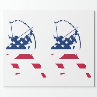 Papel De Presente Bandeira americana do arqueiro do tiro ao arco dos