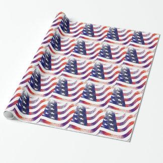 Papel De Presente Bandeira americana do Grunge