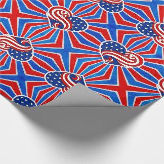 Papel De Presente Bandeira dos Estados Unidos do coração em branco e