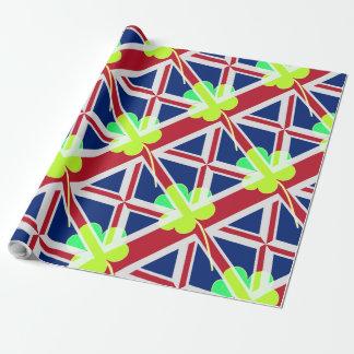 Papel De Presente Bandeira irlandesa do Reino Unido do trevo do