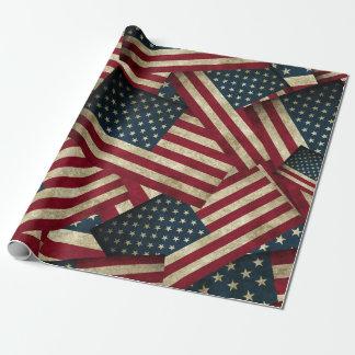 Papel De Presente Bandeiras americanas afligidas