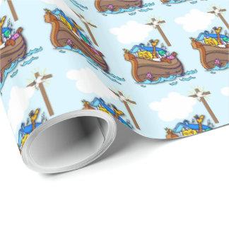 Papel De Presente Baptismo da arca de Noah, azul do menino
