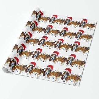 Papel De Presente Basset Tangled em luzes de Natal