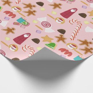 Papel De Presente Bastões e chocolates de doces no rosa