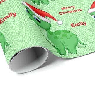 Papel De Presente Bebê verde bonito Dinosour com chapéu do papai