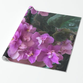 Papel De Presente Begónias roxas