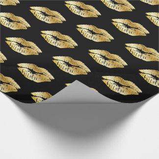 Papel De Presente Beijos do ouro no papel de envolvimento preto