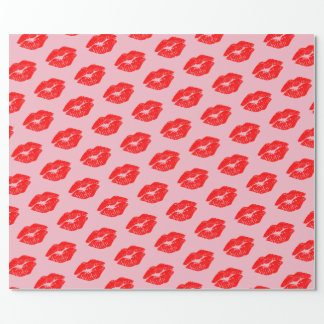 Papel De Presente Beijos vermelhos dos lábios no papel de