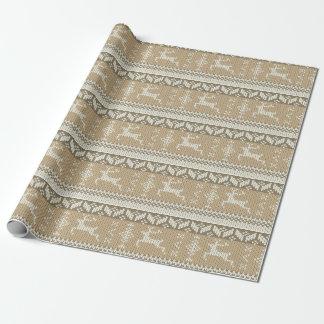 Papel De Presente Biege & rena nórdica branca do inverno do estilo