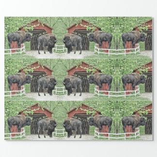 Papel De Presente Bisonte americano engraçado na ponte coberta