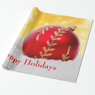Papel De Presente Bola do Natal da neve de Bokeh do Natal