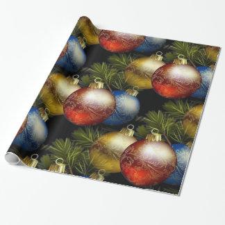 Papel De Presente Bolas bonitas do Natal com design delicado