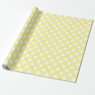 Papel De Presente Bolinhas amarelas e brancas ensolaradas