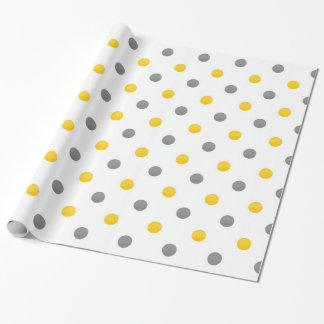 Papel De Presente Bolinhas amarelas e cinzentas