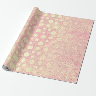 Papel De Presente Bolinhas douradas Pastel do pêssego cor-de-rosa