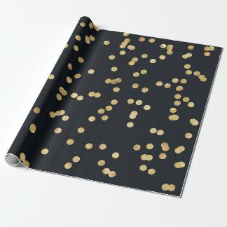 Papel De Presente Bolinhas pretas dos confetes do brilho do ouro
