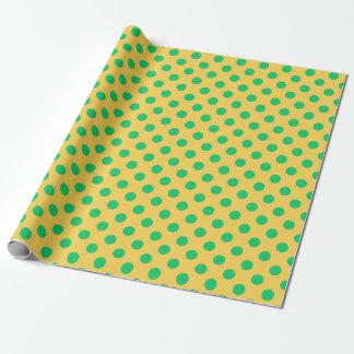 Papel De Presente Bolinhas verdes no amarelo