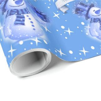 Papel De Presente Boneco de neve no teste padrão azul gelado