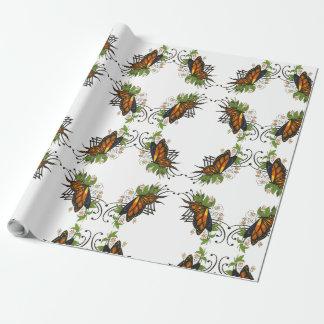 Papel De Presente borboleta com verde