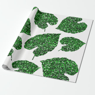 Papel De Presente Branco botânico Cali da folha verde tropical de