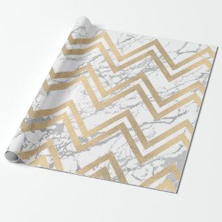 Papel De Presente Branco cinzento de Chevron do ziguezague do