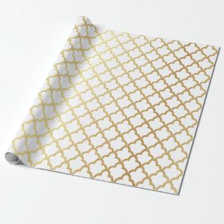 Papel De Presente Branco marroquino moderno elegante da treliça da
