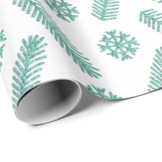 Papel De Presente Branco Tiffany dos flocos de neve da Natal-árvore
