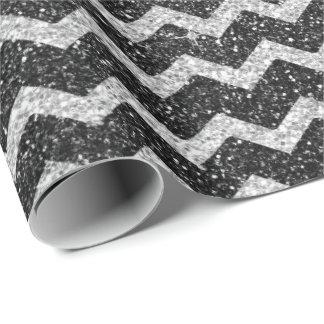 Papel De Presente Brilho de prata cinzento do art deco de Chevron do