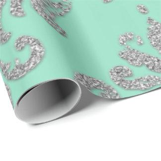 Papel De Presente Brilho de prata metálico real do verde da hortelã