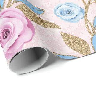 Papel De Presente Brilho floral Antonietta barroco do ouro do rosa