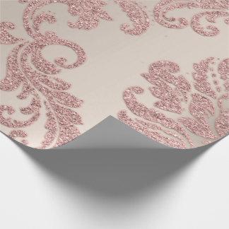 Papel De Presente Brilho metálico real do marfim do ouro do rosa de